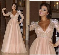 Wholesale Long Evening Beaded Rhinestone Dress - Arabic Myriam Fares Evening Dresses Elegant 2017 A-line Long Sleeve Beaded Gown Sexy Deep V-neck Sequins Rhinestone Beaded Pleats Prom Dress