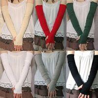 Wholesale Arm Warmer Fingerless Long Gloves - Wholesale- 2016 Top Quality Women's Cotton UV Protection Arm Warmer Long Fingerless Long Gloves Sleeves Retail Wholesale 5BSG 7EWO 7MVL