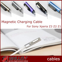 cable usb xperia al por mayor-Cable adaptador magnético de carga USB LED para Sony Xperia Z3 L55w L55T L55U Z2 L50w L50T Z1 L39H L39T L39U XL39H M51W 100pcs hasta