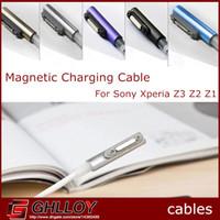 xperia usb kablosu toptan satış-Manyetik usb şarj adaptörü kablosu led sony xperia z3 için l55w l55t l55u z2 l50w l50t l50u z1 l39h l39t l39u xl39h m51w 100 adet