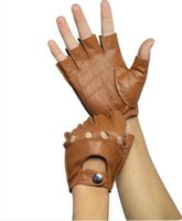 Wholesale Korean Half Finger Gloves - Wholesale-Free shipping Korean men's casual winter thin tactical half finger mitts leather riding sport