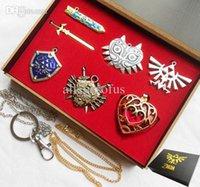 Wholesale Zelda Sword Keychain - Wholesale-6pcs Legend of Zelda Link Shield Links Sword Necklace Pendant keychain chain