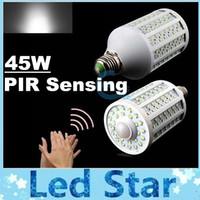 Wholesale Pir E27 - AC 110-240V Auto PIR Sensor High Power 45W E27 E14 B22 Led Led Corn Light Bulb Motion Detector Bulbs Light Warm Cold White 182Leds WW CW