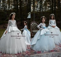 Wholesale Father Christmas Cover - 2018 Princess Ivory Lace Flower Girl Dresses with Long Sleeves Button Covered A Line Satin with Bow Sash Kids Formal Girls Pageant Dresses