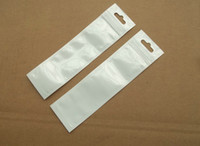 Wholesale Small Retail Plastic Packaging Bag - 5x18cm Clear white zipper lock plastic Pearl bag retail package bag poly opp pack bag stylus pen small jewelry accessories packing bag