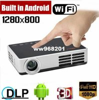 1000ANSI Lumens 1080P Android Wifi DLP Obturateur 3D HDMI VGA USB AV Micro SD Card HD LCD Pocket Video Projecteur LED mini projecteur