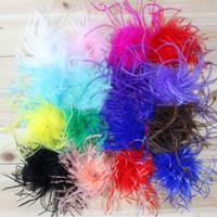 penas de avestruz cores misturadas venda por atacado-Puffs de avestruz em linha reta penas de avestruz puffs de avestruz Para decoração de cabelo 100 pcs misturam cores Preço de atacado!