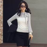Wholesale Bow Shirts Xl - 2014 New Over Size S M L XL Women Ladies Black White Stripe Bow Turtleneck Puff Sleeve Blouse Shirt
