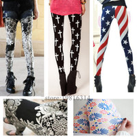 Wholesale Graffiti Leggings For Sale - 20 Hot High Elastic Design Vintage graffiti Leggings Floral patterned Print Leggins For Women Free Shipping Leggins Leggings pants Sale