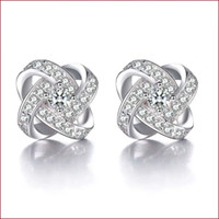Wholesale Fine Items - 925 sterling silver items crystal jewelry stud earrings cross shaped wedding infinity exquisite vintage fine charms
