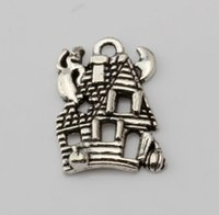 Wholesale Silver House Pendant - Hot ! 300PCS Fashion Antique Silver Zinc Alloy *CUTE HAUNTED HOUSE GHOST* Charms Pendant 14*20mm DIY Jewelry
