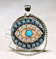 Wholesale Evil Eye Charm Glass - Jeweled Evil Eye Necklace Good Luck Talisman Art Pendant With Ball Chain