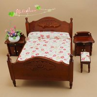 Wholesale Wholesale Dollhouse Table - 1:12 scale Dollhouse Miniatures Room Set Wood Double Bed Night Table Drestsing Stool * Lot 4pcs