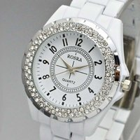 Wholesale Stainless Steel Gemstones - Wholesale-HOT White Gemstone stainless Steel Quartz Dress Watch Women Fashion Diamond watches montre femme luxury Wristwatch Free shipping