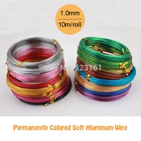 Wholesale Aluminum Wire Gauge - Wholesale-1.0mm 18 gauge multi colors anadized aluminum wire coil 10m roll soft DIY jewelry craft versatile painted aluminium metal wire