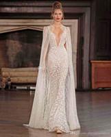 Wholesale Spagetti Straps Wedding Dress - real photo sexy wedding dresses with cape 2017 berta bridal spagetti strap deep v neck full embellishment sweep train
