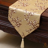 Wholesale Damask Runners - Modern Elegant Luxury Holiday Dining Table Runners Damask Cherry blossoms Decorative Table cloth Fashion Bed Runner L200 x W 33cm Multicolor