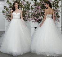Wholesale Pure White Crystal Wedding Dresses - 2016 Pure White Princess Wedding Dresses A Line Spaghetti Straps Sweetheart Backless Sexy Long Wedding Gowns With Beaded Crystal