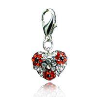 Wholesale Heart Locket Keychain - Fashion Floating Charms Inlaid Rhinestones Heart Shaped Car Keychain Locket Charms Free Shipping