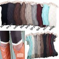 cair botas menina venda por atacado-Mic meninas das mulheres de Malha de Crochê Bota Legwarmers Knited Lace Crochet Boot Cuff-Estilo de Queda de 9 cores BY0000