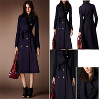 Wholesale Cheap Woolen Winter Coats - Cheap Wool Coats For Women Dark Navy Long Belted Fashion Jackets For Women With Double Breasted Pockets Wool Blends Womens Winter Coat