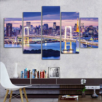 Wholesale Pc Wallpaper Free - Free Shipping 5 Pcs Tokyo Bay Wallpaper Painted Painting Oil Painting On Canvas Painting Canvas Wall Art Picture No Framed