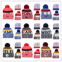 Wholesale Letter Beanie - Hot New Arrival Beanies Hats American Football 32 teams Beanies Sports winter side line knit caps Beanie Knitted Hats drop shippping B08