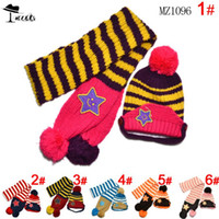 Wholesale Little Star Scarf - Wholesale-Scarf Hat sets Free shipping ( 5pieces lot ) special offer six color cute little star baby hats +scarfts winter cap MZ1096