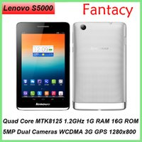Lenovo S5000 Tablet PC construit en 3G GSM Phone Call 7 pouces IPS 1280x800 Quad Core MTK8125 1.5GHz 1Go RAM 16Go ROM 5MP Dual Camera