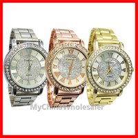 Wholesale Diamond Mens Wrist - Mens Watches Top Brand Geneva Watch Stainless Steel Metal Wrist Watches for Women Men Fashion Luxury Gold Crystal Quartz Rhinestone Diamond