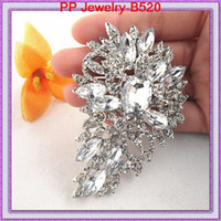Wholesale Asian Hijab Wholesalers China - Wholesale Brooch Large Beautiful Leaf Shaped Stunning Austrian Crystals Broach Exquisite Women Hijab Wear Pins Wedding Brooches