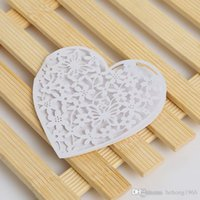 Wholesale White Greeting Cards - White Blessing Card For Heart Shape Hollow Out Design Wedding Greeting Cards Originality Pearlescent Paper 0 35rc C