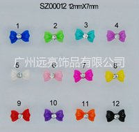 Wholesale Glitter Nail Bows - 1000 pcs 3D Glitters Bow Tie Bowtie sticker Acrylic Slices Rhinestones Nail Art Tips DIY 12 Colors