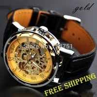 Wholesale Steampunk Wrist Watches - Wholesale-Steampunk Men's Gold Dial Hollow-out Mechanical Wrist Watch Silver Black hand-winding leather transparent classic luxury