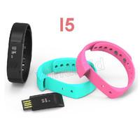 Wholesale Wristband Stylish - 5pcs DHL I5 Healthy Smart OLED Wristband Watch Bracelet Bluetooth 4.0 Stylish Sleep Track Waterproof Smartwatch with Sports & Sleep Trace