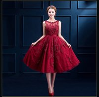 Wholesale Elegant Vintage Cocktail Dress - SSYFashion Wine Red Lace Embroidery Sleeveless Short A-line Evening Dresses The Bride Banquet Elegant Party Cocktail Dress Formal Prom Dress