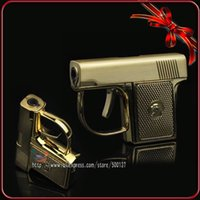 Wholesale Novelty Refillable Lighters - Mini Novelty Metal Pistol Jet Flame Windproof Cigarette Cigar Gun Lighter With Box