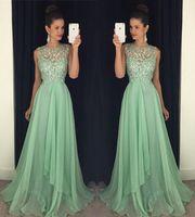 Wholesale floor length prom dress mint resale online - Latest Jewel Neck Long Evening Dresses A line Floor length Elegant Crystal Beaded Chiffon Mint Custom Made Long Party Prom Dresses