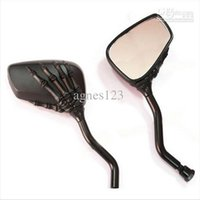 Wholesale Dyna Mirror - New Motorcycle Mirror Chrome Motorcycle Skull Mirror 8MM For Harley Softail Dyna top sale free shipping