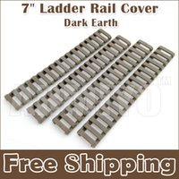 "Wholesale Handguard Covers - Armiyo Hunting 18 slot Snap-on 7"" Ladder Rubber Cover Quad Handguard Picatinny Rail Shooting Accessories Dark Earth Free Shipping"