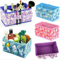 Cotton blue beauty case - Fashion Nice CHIC Multifunction Beauty Flower Folding Makeup Cosmetics Storage Box Organizer Jewelry Compartment Storage Boxes