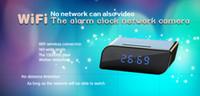 Wholesale spy camera clock nanny for sale - DHL A106 WiFi Alarm Clock Hidden Spy Camera P2P with Motion Detection night vision nanny camera clock DVR