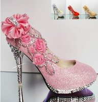 Wholesale Sparkle Diamond Prom Dresses - Best Sparkling Flowers Diamond Wedding Women's Dress Shoes 2014 Pink Gold Bride Bridesmaid 10CM High Heels Party Prom Shoes Women shoes