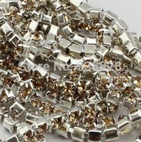 Wholesale Topaz Sew Rhinestones - Wholesale-10 yards SS8(2.5mm) Light Topaz Pointback Sew On Glass Rhinestones DIY Sewing Crystal Cup Chains