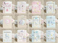 Wholesale E130 MINI Designs Lovely New Born Baby Handmade D Greeting Cards With Envelope Birth Congratulation Gift mm
