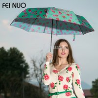 Wholesale Chinese Umbrellas For Sale - Wholesale-High Qulaity Chinese Famous Brand Camellia Flower Style Manual Three Fold Women Amhibious Clear Rain Parasol Umbrellas For Sale