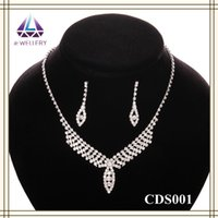 Wholesale New Model Necklace - Free Shipping New Model Jewelry Set Teardrop Crystal Necklace Earring Sets Hot Sale For Nice Girls