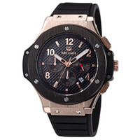 Wholesale Big Face Mens Sports Watches - Megir Mens Chronograph Military Fashion Sport Big Face Calender Analog Display Quartz Wrist Watch with Silicone Strap Relogio Masculino