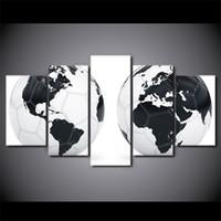 ingrosso mappa bianca nera-5 Pz / set Nero Bianco Football World Map HD Stampato Immagine Wall Art Canvas Print Room Decor Poster Pittura della Tela di Canapa