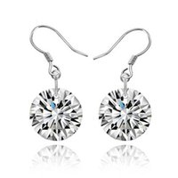 Wholesale Dangle Cz Earring - 2016 Hot 925 Sterling Silver CZ diamond drop earrings fashion jewelry Zircon Wedding   engagement gift free shipping
